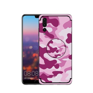 NXE for Huawei P20 Pro Camouflage Pattern PC TPU Hybrid Cover with Pop Out Stand - Pink