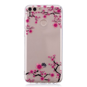 Pattern Printing IMD TPU Soft Phone Shell for Huawei P Smart / Enjoy 7S - Peach Blossom