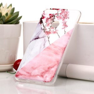 Marble Pattern IMD TPU Gel Back Shell for Huawei Honor 7C / Enjoy 8 /Y7 Prime (2018) - Pink Flower