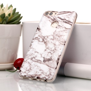 Marble Pattern IMD TPU Back Case for Huawei P Smart / Enjoy 7S - White / Grey