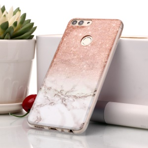 Marble Pattern IMD TPU Cover for Huawei P Smart / Enjoy 7S - Orange / Grey