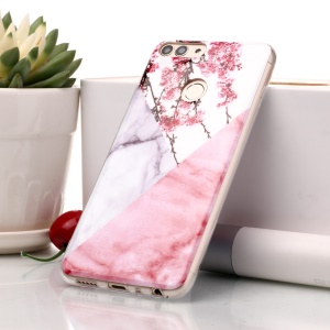 Marble Pattern IMD TPU Protection Case for Huawei P Smart / Enjoy 7S - Pink Flower