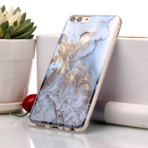 Marble Pattern IMD TPU Case Phone Shell for Huawei P Smart / Enjoy 7S - Gold / Blue