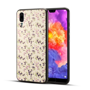 Pattern Printing PU Leather Coated PC + TPU Hybrid Case for Huawei P20 - Blue Flowers