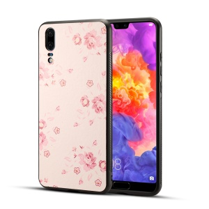 Pattern Printing PU Leather Coated PC + TPU Hybrid Back Cover for Huawei P20 - Pretty Flower Pattern