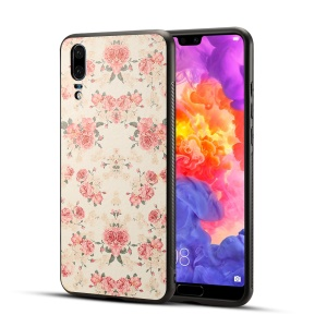 Pattern Printing PU Leather Coated PC + TPU Hybrid Phone Shell for Huawei P20 - Elegant Peony