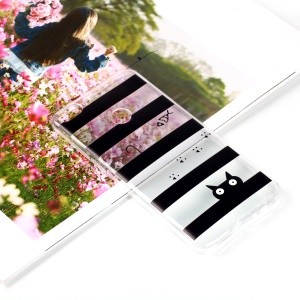Pattern Printing Flexible TPU Mobile Case for Huawei P Smart / Enjoy 7S - Stripes and Cat