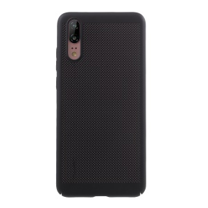 Rubberized Hollow Mesh Heat Dissipation PC Mobile Phone Shell for Huawei P20 - Black