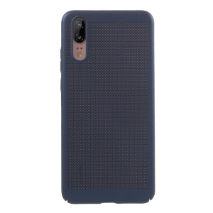 Rubberized Hollow Mesh Heat Dissipation PC Cellphone Cover for Huawei P20 - Blue