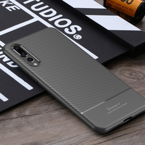 IPAKY Carbon Fiber Texture TPU Back Cover for Huawei P20 Pro - Grey