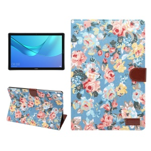 Cloth Texture Leather Auto Wake Up/Sleep Stand Wallet Protection Shell for Huawei MediaPad M5 10 / MediaPad M5 10 (Pro) with Card Slot - Blue