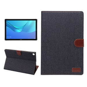 Jeans Cloth Texture Leather Wallet Stand Case for Huawei MediaPad M5 10/M5 10 (Pro) - Black Blue