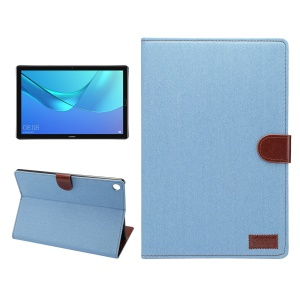 Jeans Cloth Texture Leather Wallet Stand Tablet Cover for Huawei MediaPad M5 10/M5 10 (Pro) - Baby Blue
