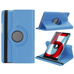 Litchi Grain Leather Stand Tablet Protective Shell for Huawei MediaPad M5 8 with Elastic Band - Baby Blue