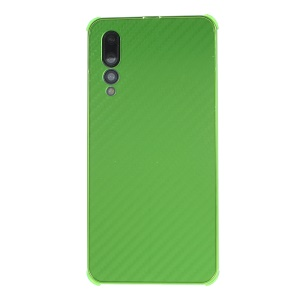 Electroplated Metal Bumper + Carbon Fiber PC Back Panel Slide-on Cellphone Case for Huawei P20 Pro - Green