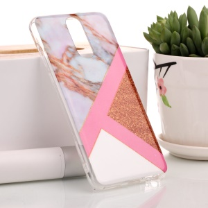 Flash Powder Marble Pattern IMD TPU Cell Phone Shell for Huawei Mate 10 Lite / nova 2i / Maimang 6 / Honor 9i (India) - Pink / Rose Gold