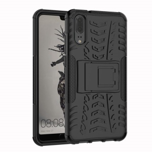 Anti-slip PC + TPU Hybrid Case with Kickstand for Huawei P20 - Black