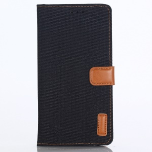 Jeans Cloth Leather Wallet Case for Huawei P20 Lite / Nova 3e - Black