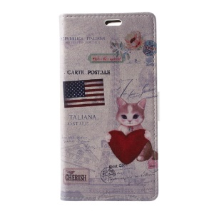 Cat Holding Heart and American Flag