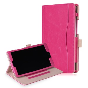 Pocket Front PU Leather Stand Cover with Elastic Band for Huawei MediaPad M5 8 - Rose