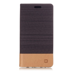 Assorted Color Canvas Leather Mobile Casing with Card Slot for Huawei P20 Lite / Nova 3e - Coffee