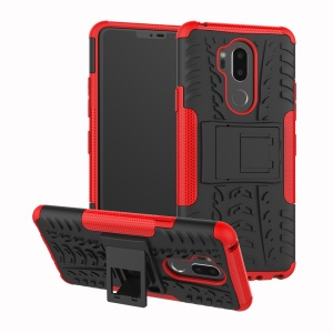 Custodia Ibrida Antiscivolo Per PC + TPU Con Cavalletto Per LG G7 Thinq - Rosso