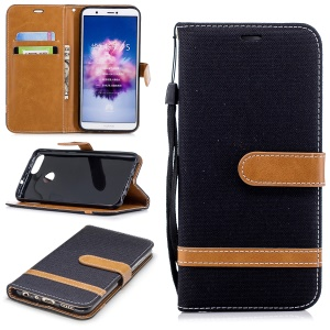 Jeans Cloth Texture Wallet Stand Leather Case for Huawei P Smart / Enjoy 7S - Black