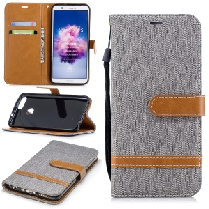 Jeans Cloth Texture Wallet Stand Leather Cover for Huawei P Smart / Enjoy 7S - Grey