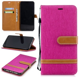 Jeans Cloth Texture Wallet Stand Leather Mobile Case for Huawei P20 Pro - Rose