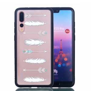 For Huawei P20 Pro Embossed Rubberized PC TPU Hybrid Phone Back Case - White Feather and Arrow