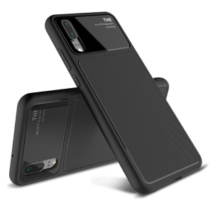 LENUO Tempered Glass Lens TPU Case for Huawei P20 - Black