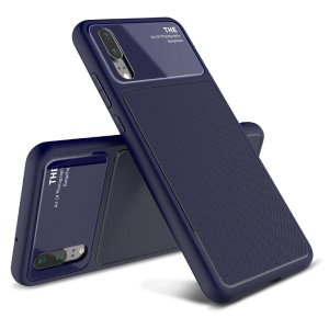 LENUO Tempered Glass Lens TPU Cover Case for Huawei P20 - Dark Blue