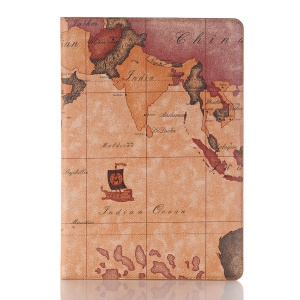 Map Pattern Stand Wallet Leather Shell for Huawei MediaPad M5 10/M5 10 (Pro) - Brown