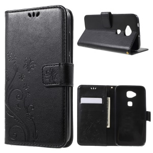 Butterfly Leather Wallet Flip Cover for Huawei G8 / D199 Maimang 4 - Black