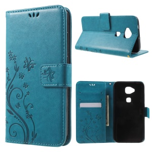 Butterfly Leather Stand Shell Case for Huawei G8 / D199 Maimang 4 - Blue
