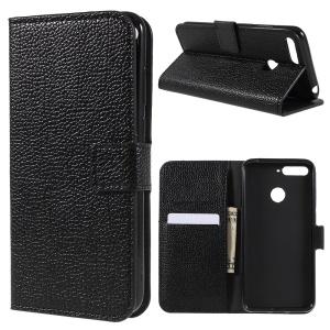 Litchi Texture Wallet Leather Phone Case with Stand for Huawei Honor 7A (with Fingerprint Sensor)/Honor 7A Pro/Enjoy 8e - Black