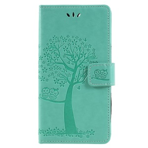 Imprint Tree Owl Leather Wallet Stand Flip Phone Casing for Huawei Honor 7A (with Fingerprint Sensor)/Honor 7A Pro/Enjoy 8e - Cyan