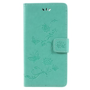 Imprint Butterfly Flowers Leather Phone Case for Huawei Honor 7A (with Fingerprint Sensor)/Honor 7A Pro/Enjoy 8e - Green