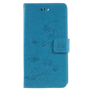Imprint Butterfly Flowers Leather Wallet Folio Cover Shell for Huawei Honor 7A (with Fingerprint Sensor)/Honor 7A Pro/Enjoy 8e - Blue