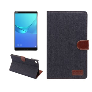 Jeans Cloth Leather Wallet Smart Cover for Huawei MediaPad M5 8 (8.4-inch) - Black Blue