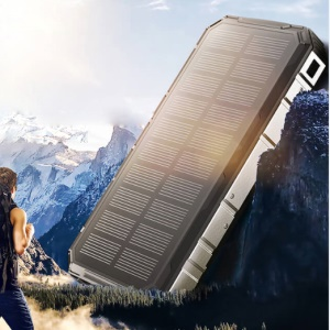 Waterproof/Shockproof/Dust-proof Dual USB 20000mAh Solar Power Bank with Flashlight for Smartphones Tablets - Black