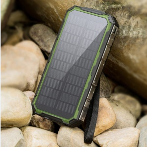 Waterproof/Shockproof/Dust-proof Dual USB 20000mAh Portable Solar Power Battery Charger with Flashlight for Smartphones Tablets - Green