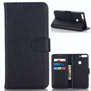 Crazy Horse Texture Retro Style Leather Wallet Case for Huawei Honor 7C/Enjoy 8/Y7 Prime (2018) - Black