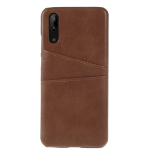 Two Card Slots PU Leather Coated PC Protector Case for Huawei P20 - Coffee