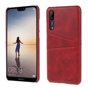 Card Holder PU Leather Coated PC Phone Cover for Huawei P20 Pro - Red