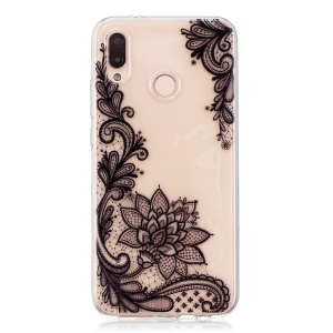 Pattern Printing TPU Phone Cover Case for Huawei P20 Lite/Nova 3e (China) - Black Flower