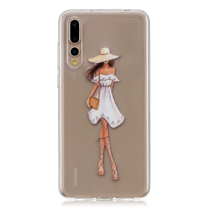 Pattern Printing TPU Case for Huawei P20 Pro - Girl in White Dress