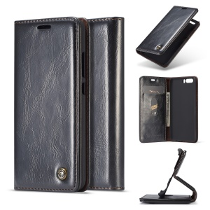 CASEME Oil Wax Crazy Horse Wallet Leather Stand Case for Huawei P10 - Black