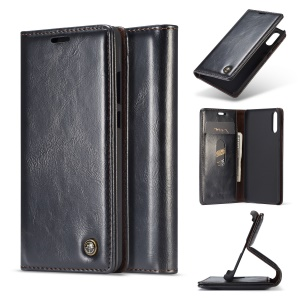 CASEME Oil Wax Crazy Horse Wallet Leather Stand Case for Huawei P20 - Black