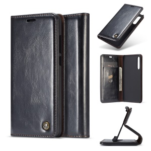 CASEME Oil Wax Crazy Horse Wallet Leather Stand Case for Huawei P20 Pro - Black